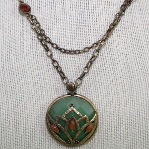 Lucky Brand Mint and Orange Pendant Necklace